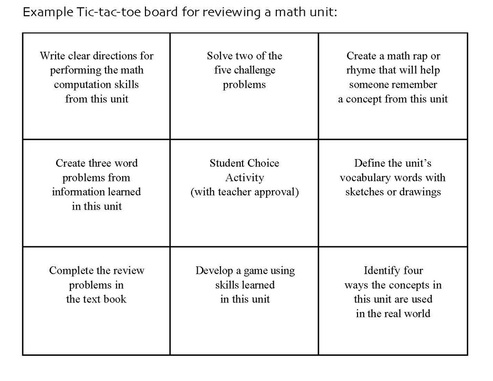 Learning menus my site for Tic tac toe template for teachers
